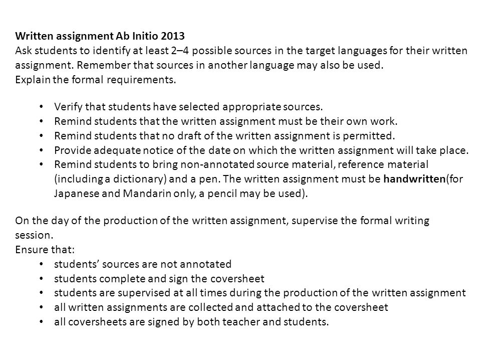 Written assignment Ab Initio 2013