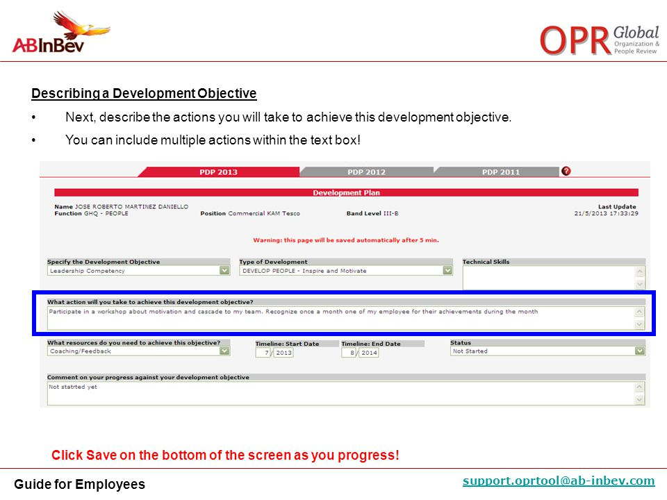 Describing a Development Objective