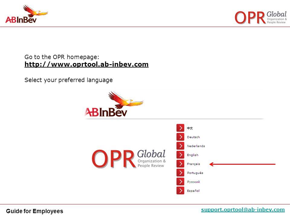http://www.oprtool.ab-inbev.com Go to the OPR homepage: