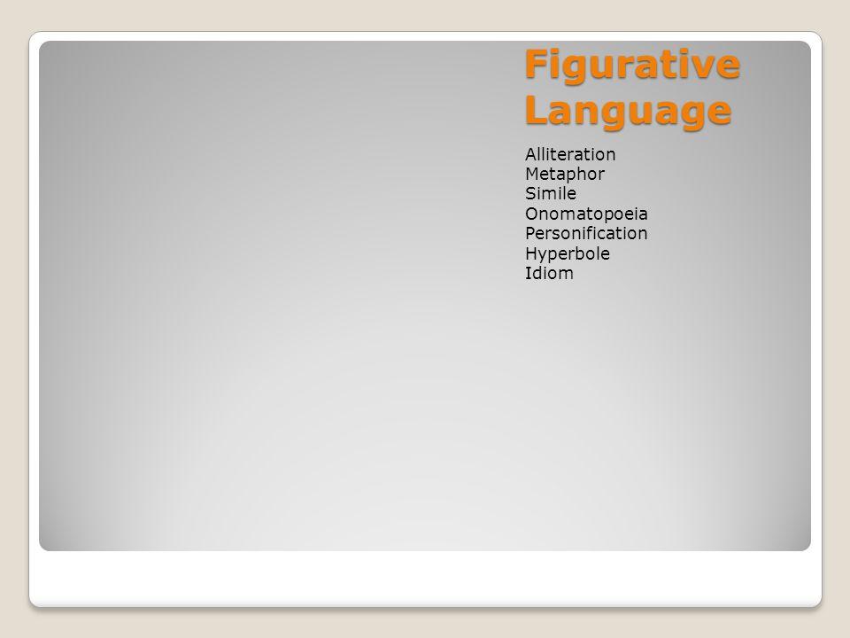 Figurative Language Alliteration Metaphor Simile Onomatopoeia