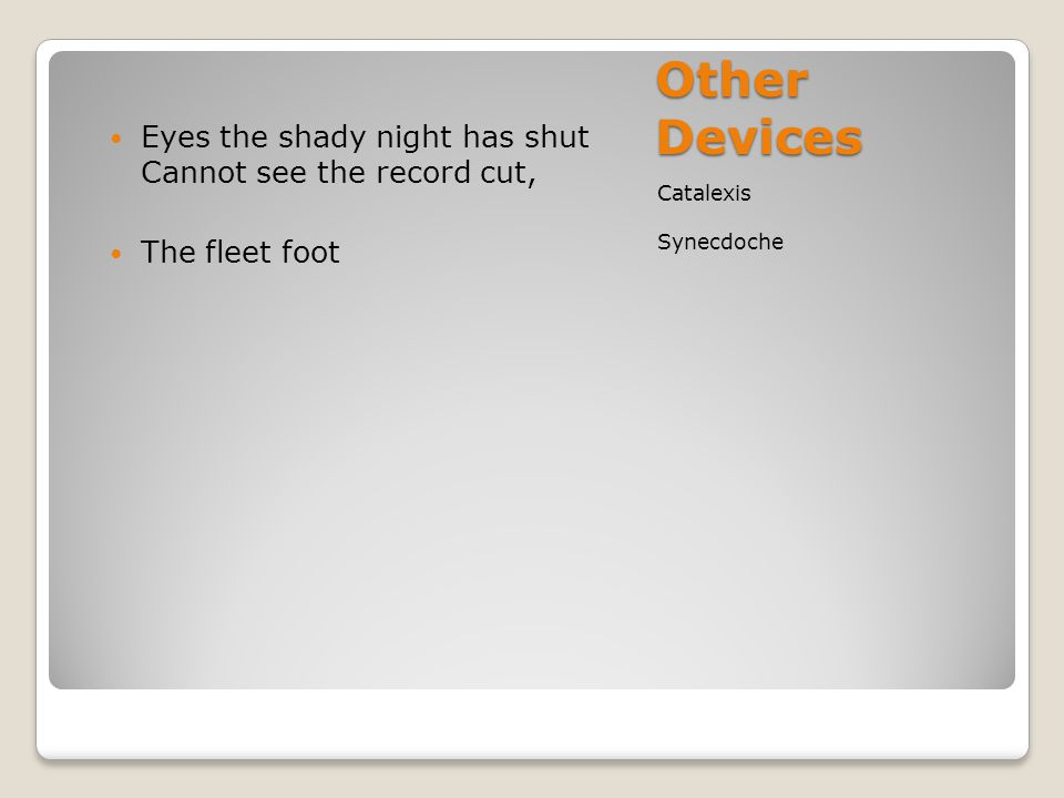 Other Devices Eyes the shady night has shut Cannot see the record cut,
