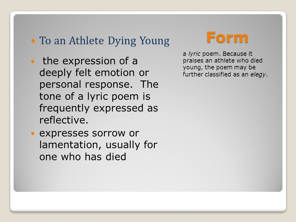 style analysis on to an athlete dying young Read to an athlete dying young by ae housman and reflect on some of the major themes that the poem addresses that specifically speak to the world of sports for.