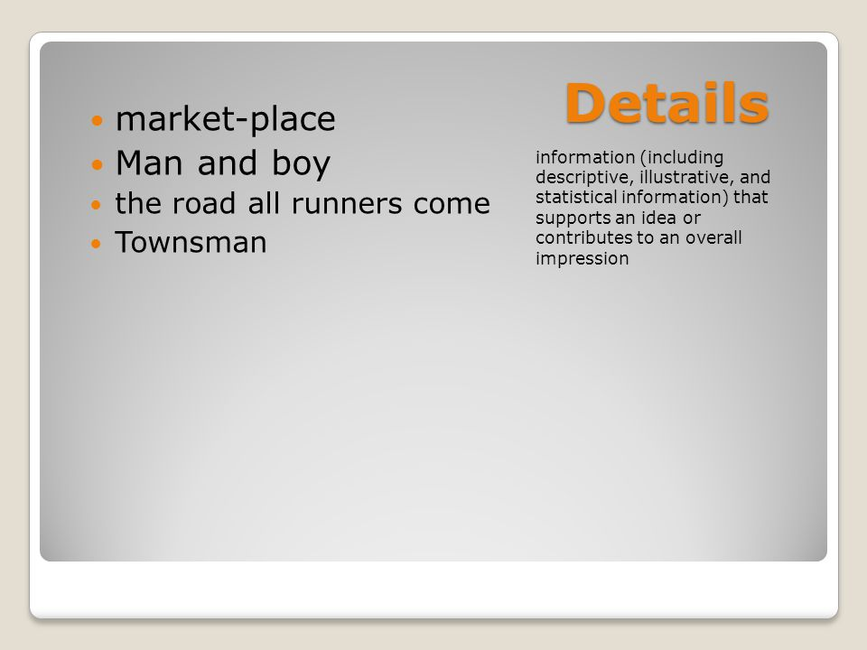 Details market-place Man and boy the road all runners come Townsman