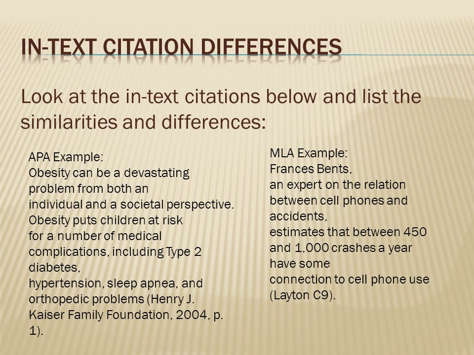 In-Text Citation differences