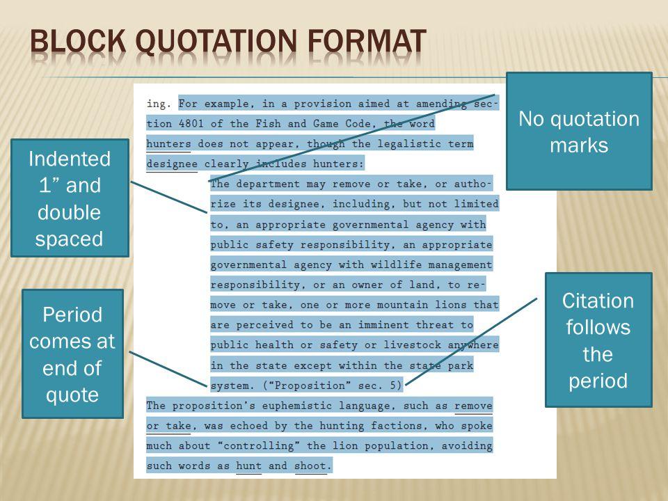 Block Quotation format
