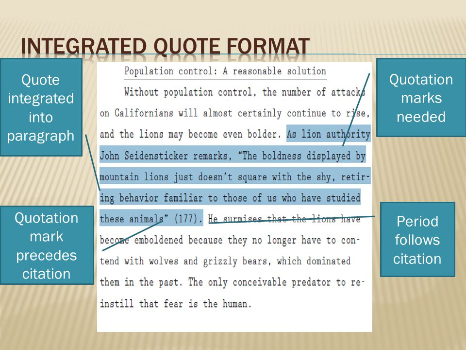 Integrated quote format