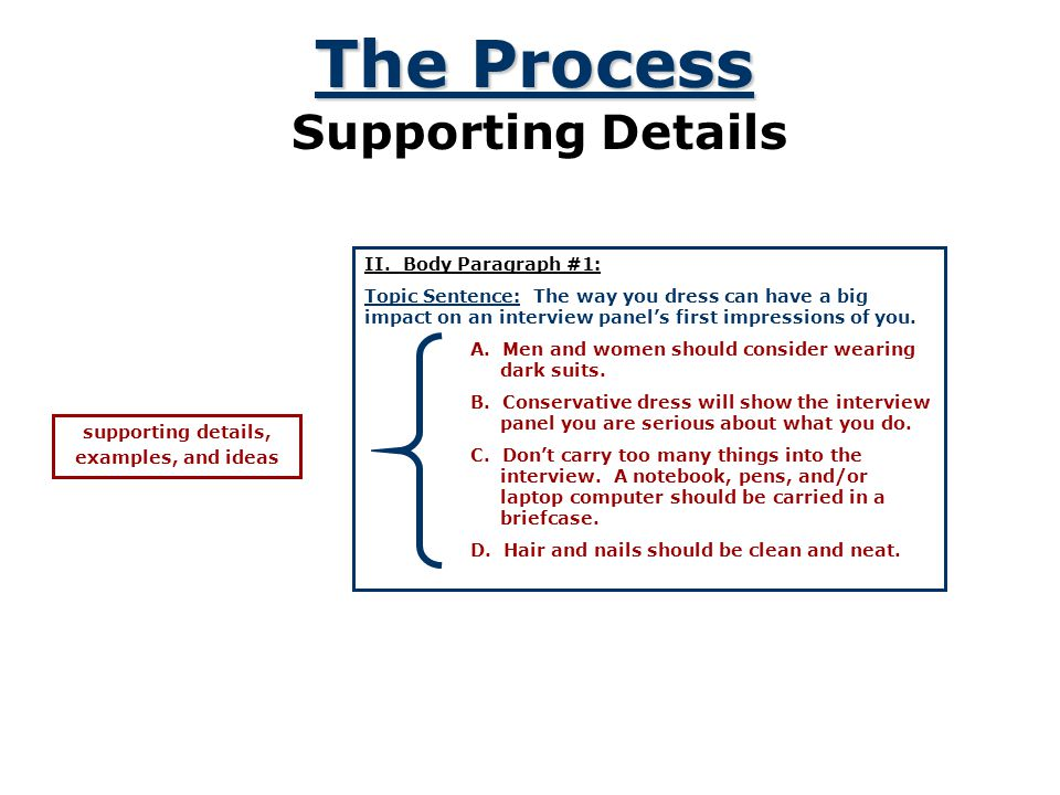 The Process Supporting Details II. Body Paragraph #1: