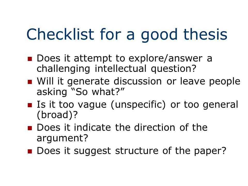 strong thesis statement checklist
