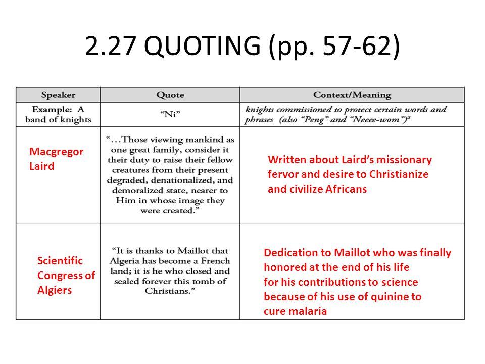 2.27 QUOTING (pp. 57-62) Macgregor Laird