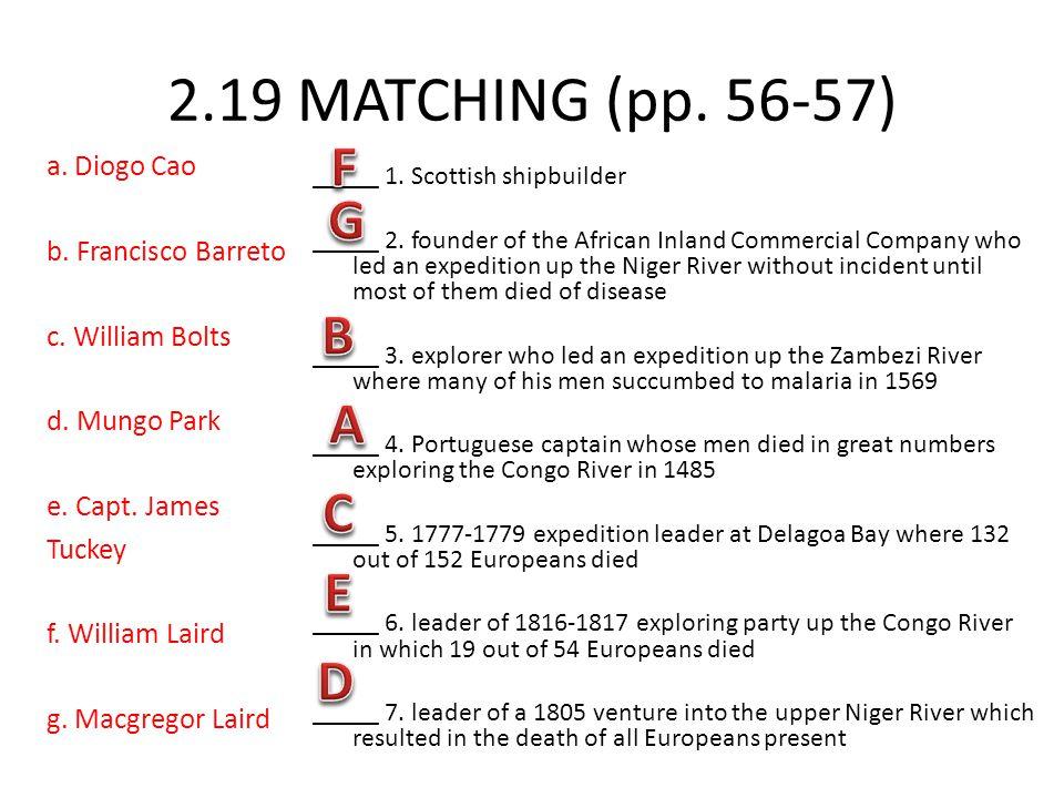 2.19 MATCHING (pp. 56-57) F G B A C E D