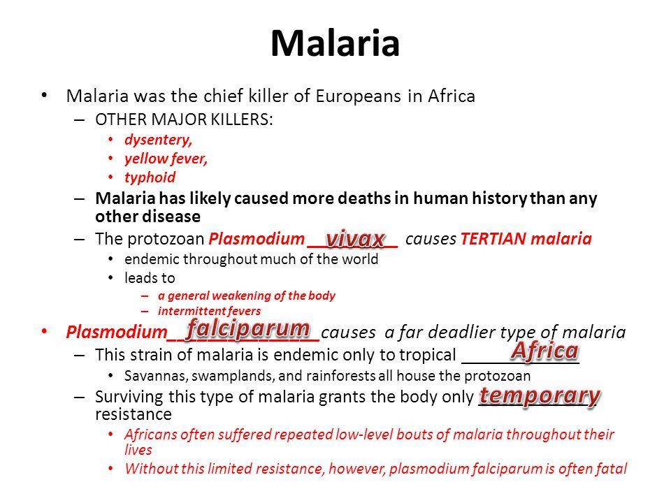 Malaria vivax falciparum Africa temporary