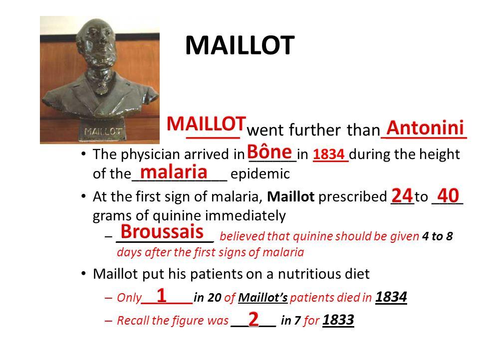 MAILLOT MAILLOT Antonini Bône malaria 24 40 Broussais 1 2