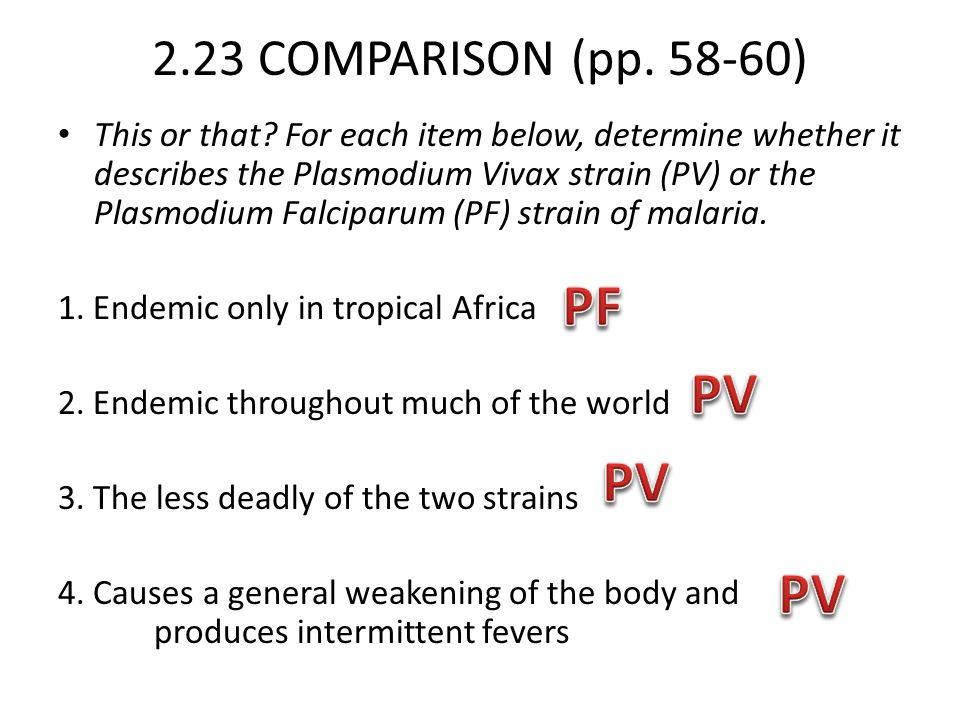 PF PV PV PV 2.23 COMPARISON (pp. 58-60)