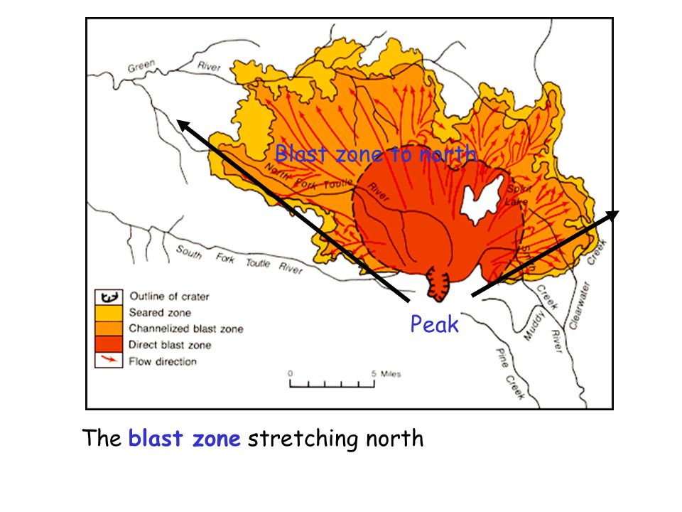 Blast zone to north Peak The blast zone stretching north