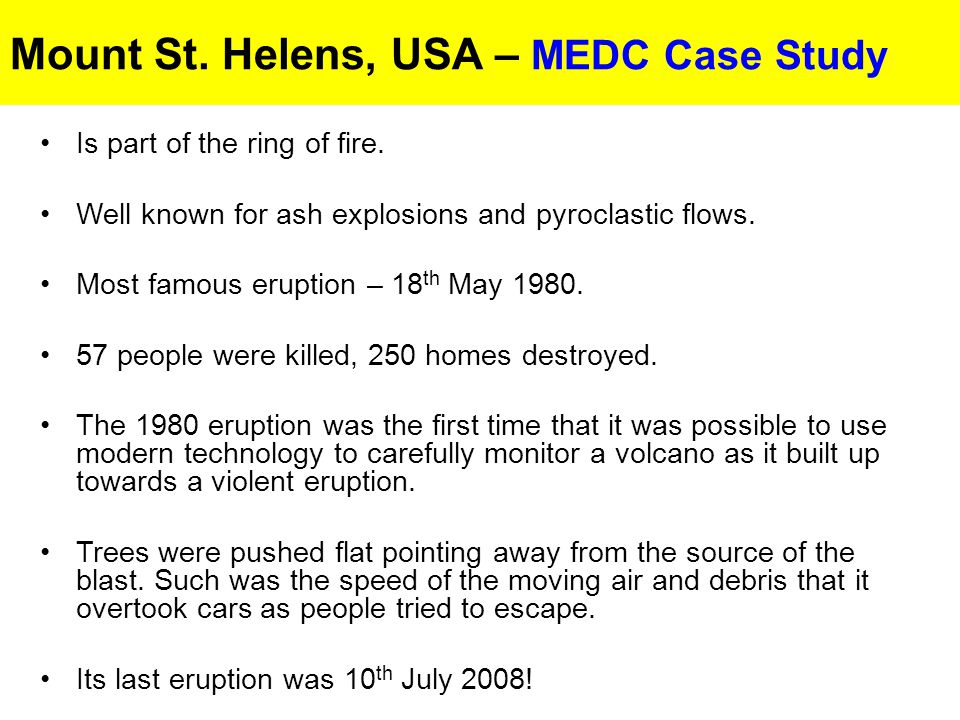 Mount St. Helens, USA – MEDC Case Study