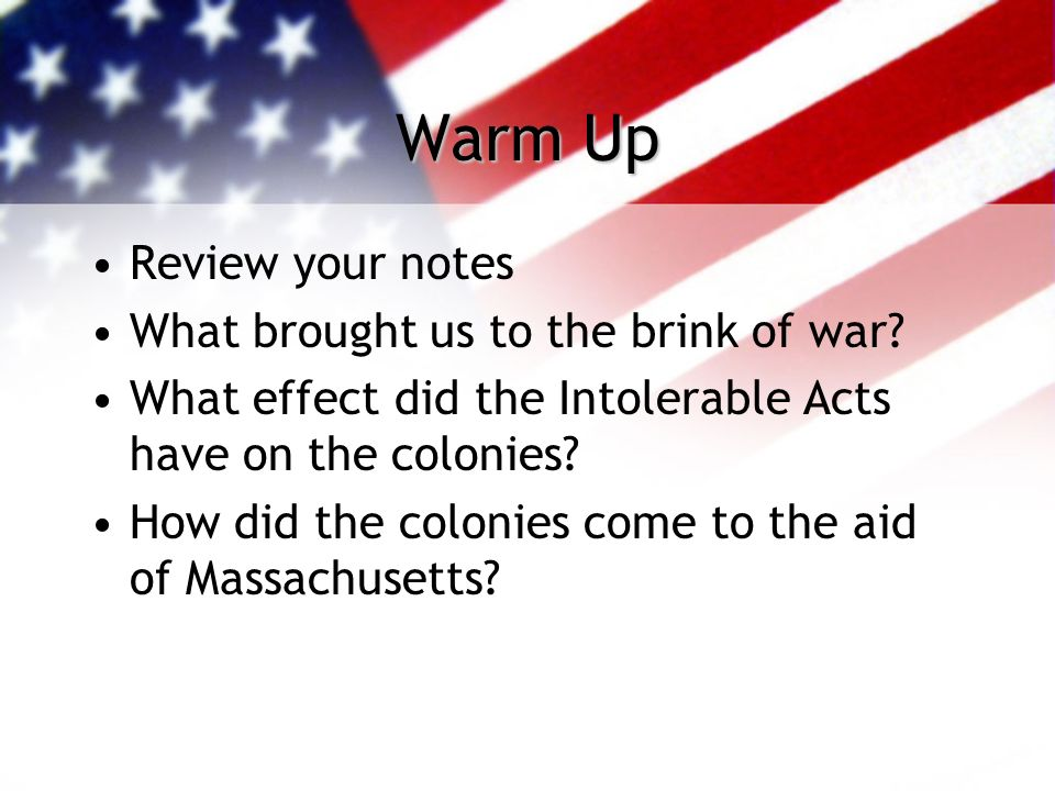 Warm Up Review your notes What brought us to the brink of war