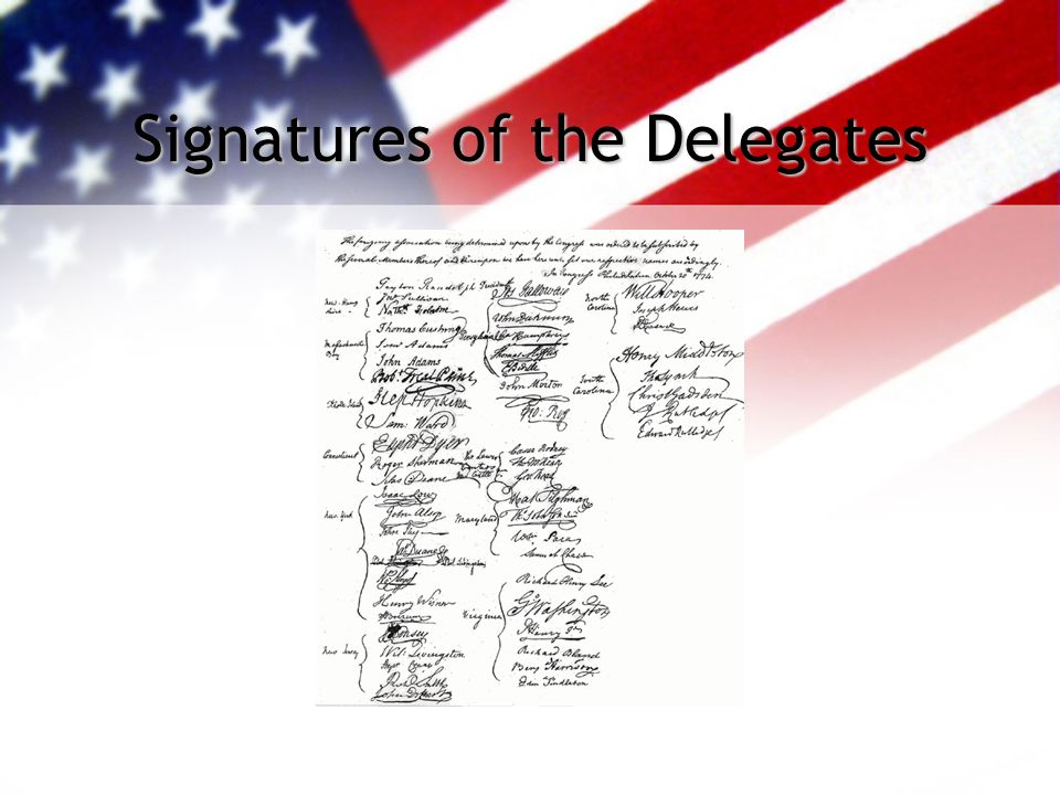 Signatures of the Delegates