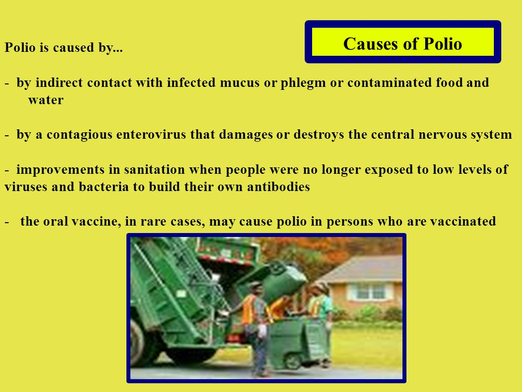 Causes of Polio Polio is caused by...