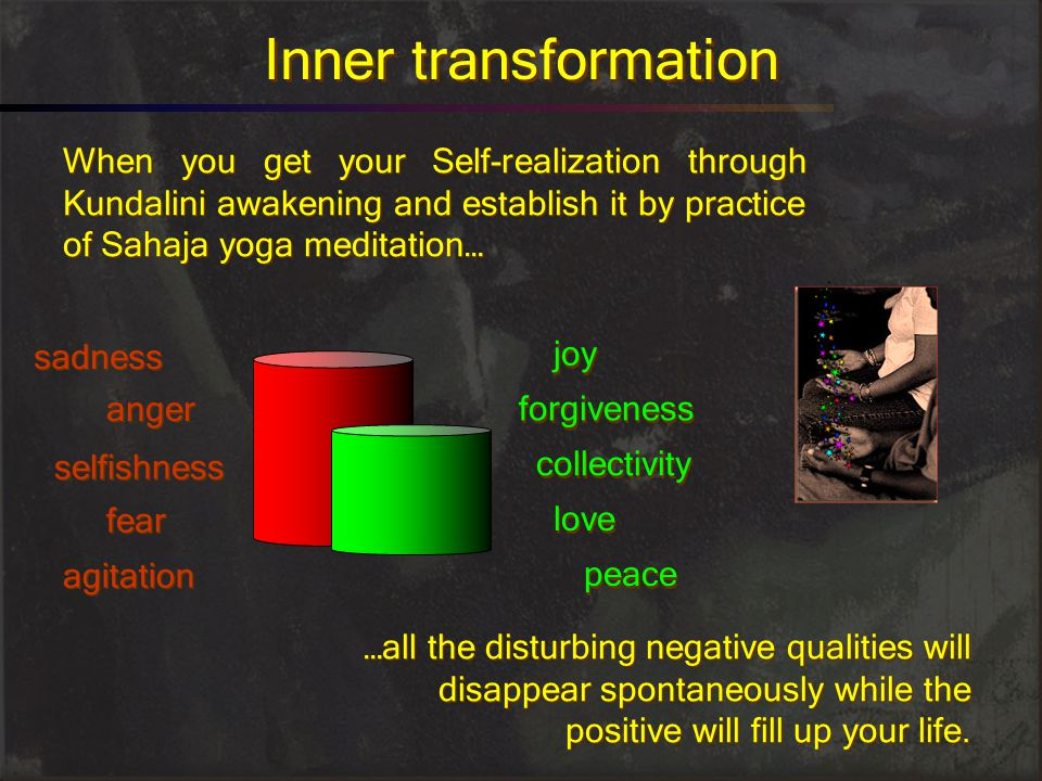 Inner transformation When you get your Self-realization through Kundalini awakening and establish it by practice of Sahaja yoga meditation…