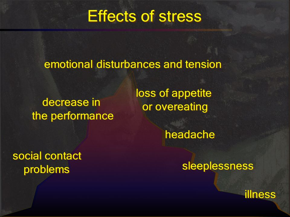 Effects of stress emotional disturbances and tension loss of appetite