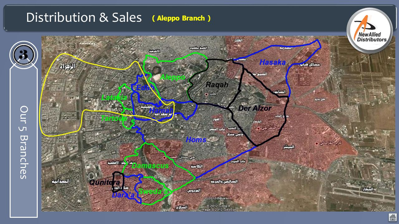 Distribution & Sales ( Aleppo Branch ) Our 5 Branches