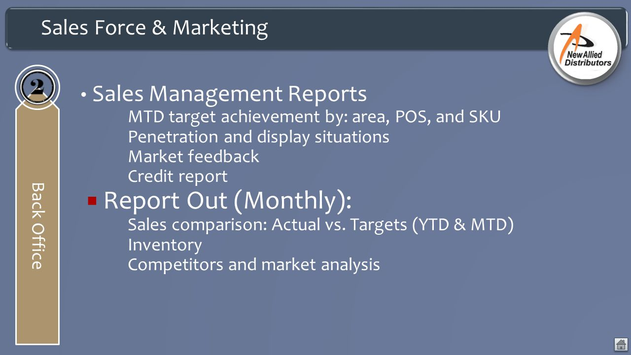 Report Out (Monthly): Sales Management Reports Sales Force & Marketing