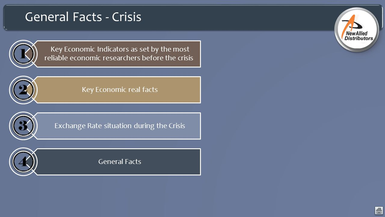 General Facts - Crisis Key Economic Indicators as set by the most reliable economic researchers before the crisis.