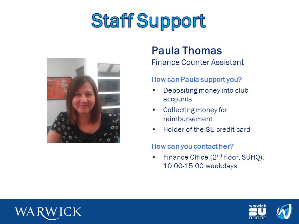 Staff Support Paula Thomas Finance Counter Assistant