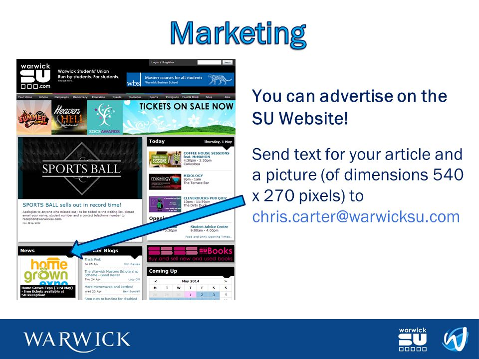 Marketing You can advertise on the SU Website!