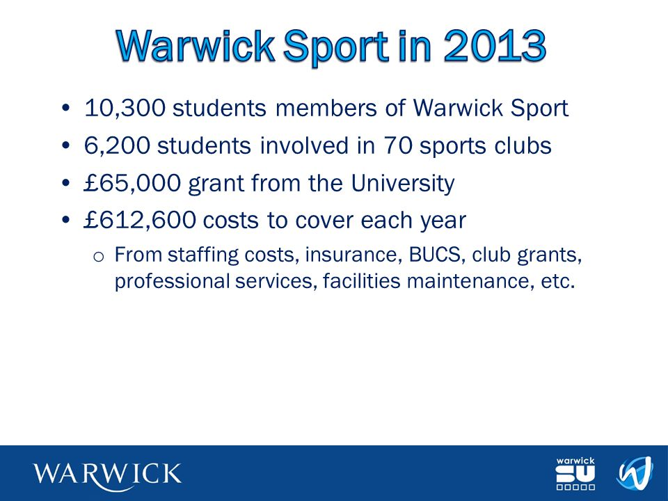 Warwick Sport in 2013 10,300 students members of Warwick Sport