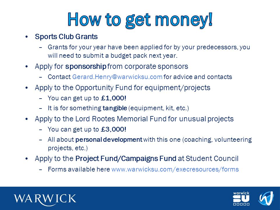 How to get money! Sports Club Grants