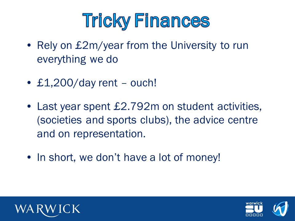 Tricky Finances Rely on £2m/year from the University to run everything we do. £1,200/day rent – ouch!