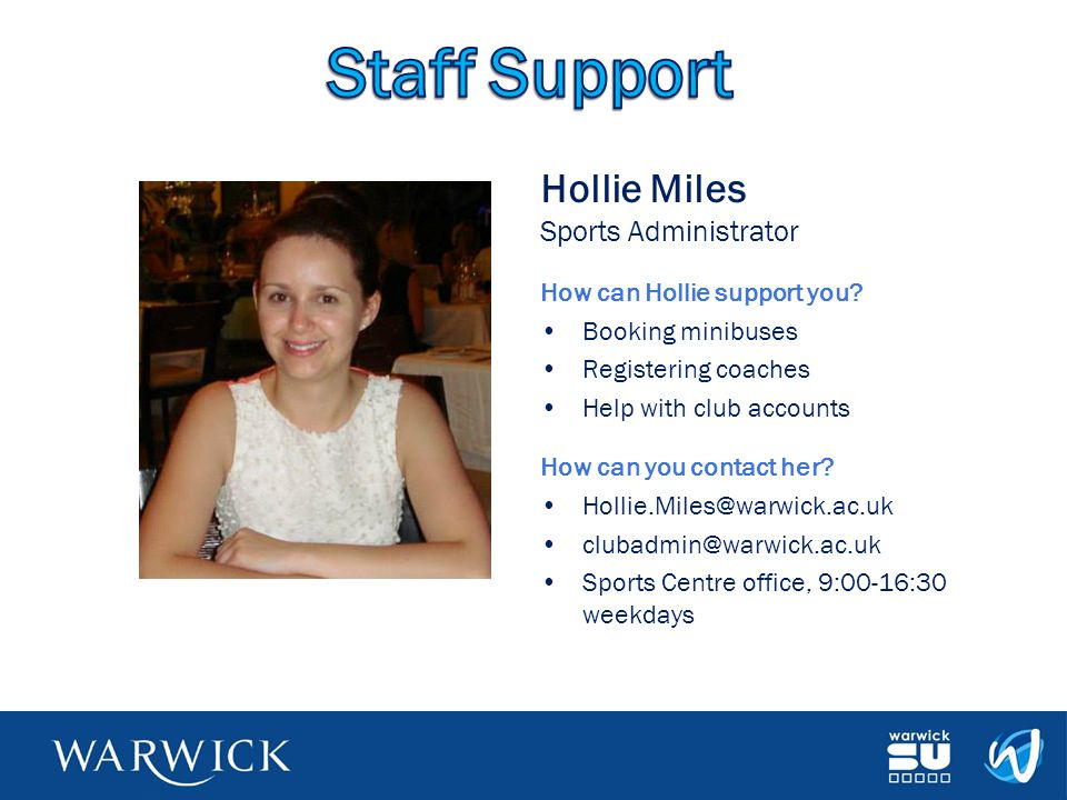 Staff Support Hollie Miles Sports Administrator
