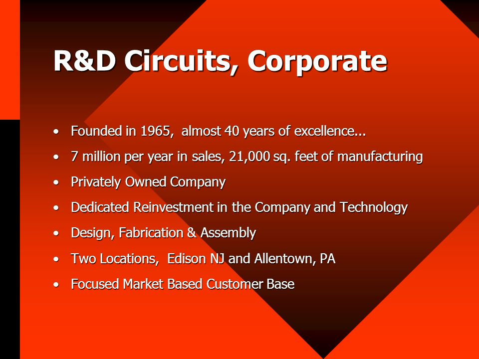 R&D Circuits, Corporate