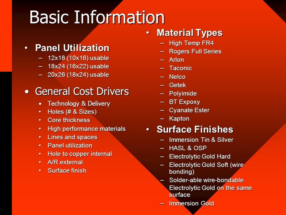 Basic Information General Cost Drivers Material Types