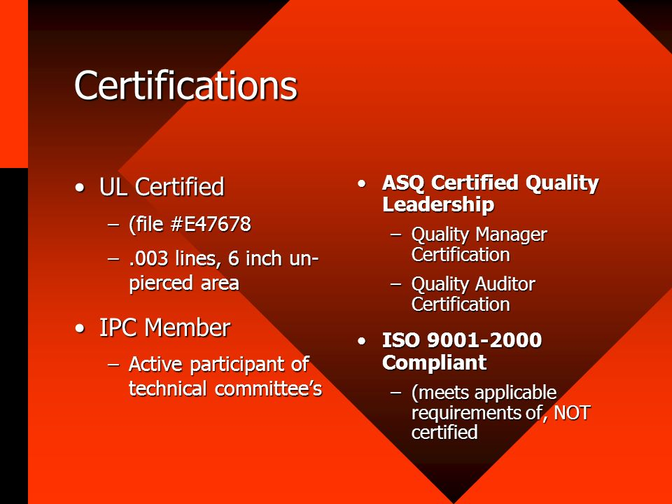 Certifications UL Certified IPC Member