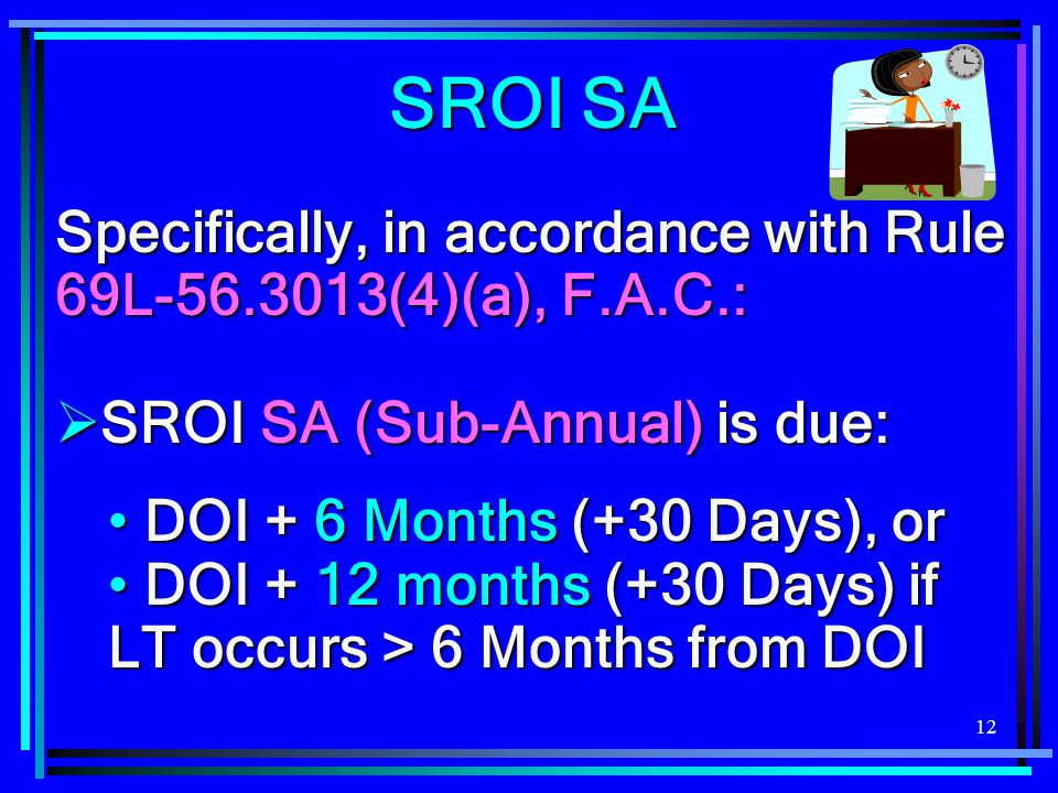 SROI SA Specifically, in accordance with Rule 69L-56.3013(4)(a), F.A.C.: SROI SA (Sub-Annual) is due: