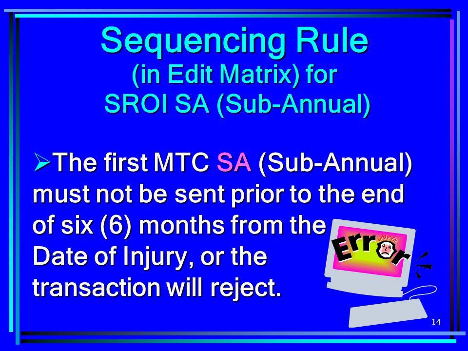 Sequencing Rule (in Edit Matrix) for SROI SA (Sub-Annual)