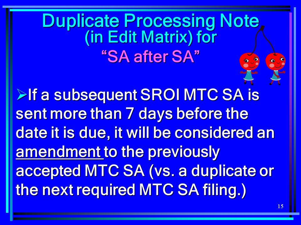 Duplicate Processing Note