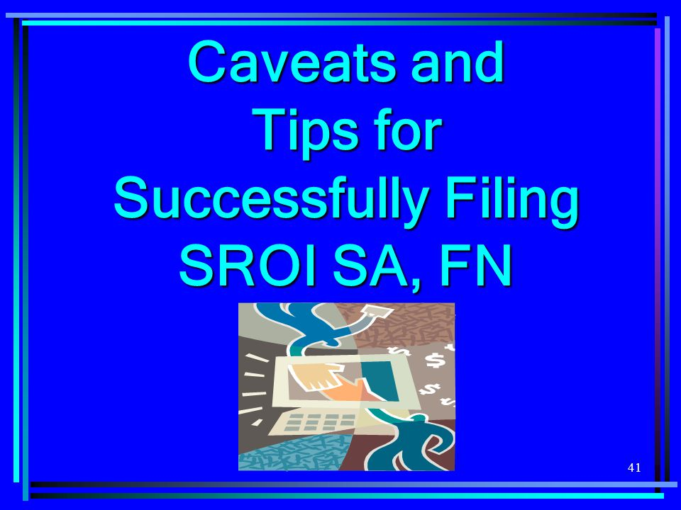 Caveats and Tips for Successfully Filing SROI SA, FN