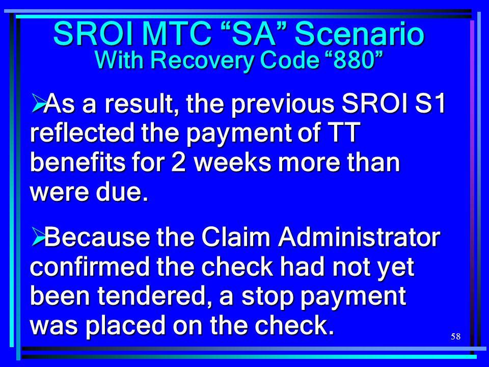 SROI MTC SA Scenario With Recovery Code 880
