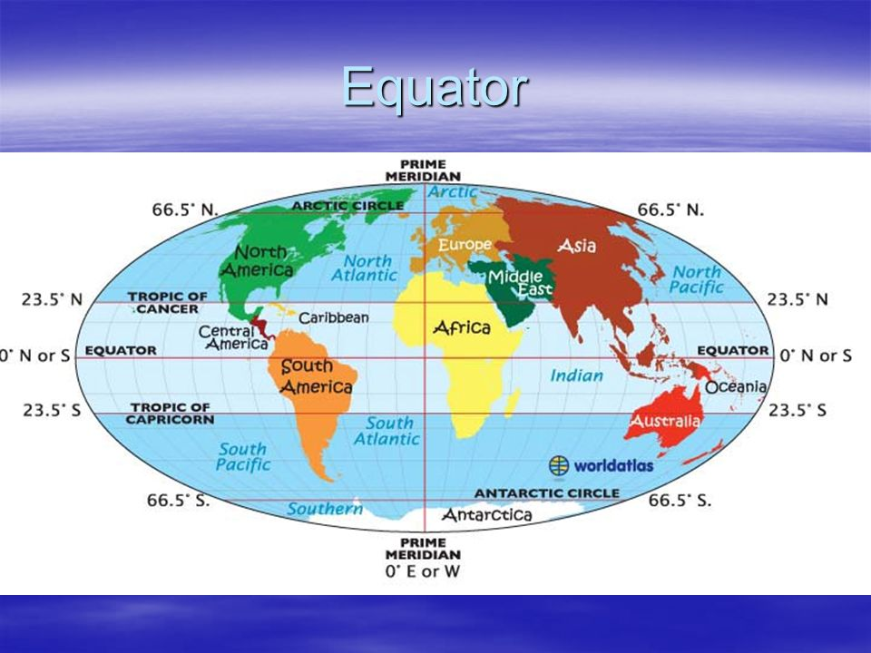 Equator 0 degrees latitude
