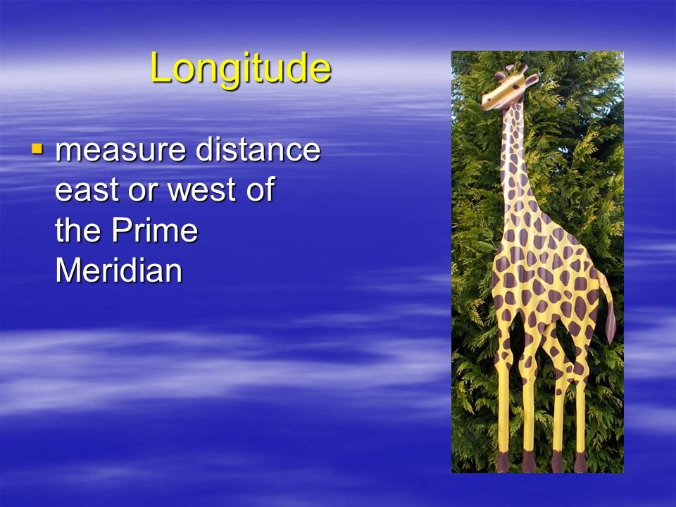 Longitude measure distance east or west of the Prime Meridian