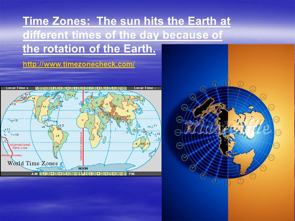 Time Zones: The sun hits the Earth at different times of the day because of the rotation of the Earth.