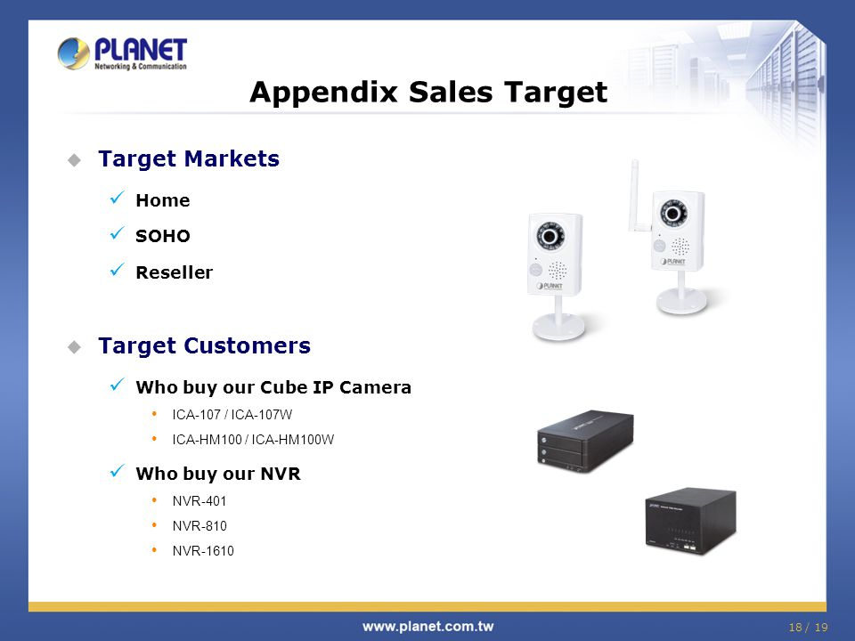 Appendix Sales Target Target Markets Target Customers Home SOHO