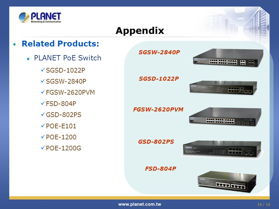 Appendix Related Products: PLANET PoE Switch SGSD-1022P SGSW-2840P