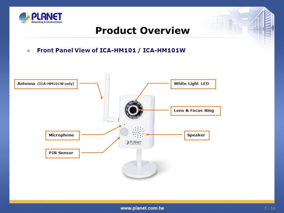 Product Overview Front Panel View of ICA-HM101 / ICA-HM101W
