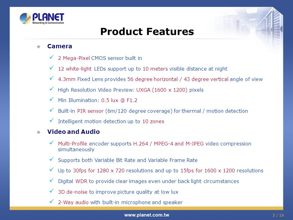 Product Features Camera Video and Audio