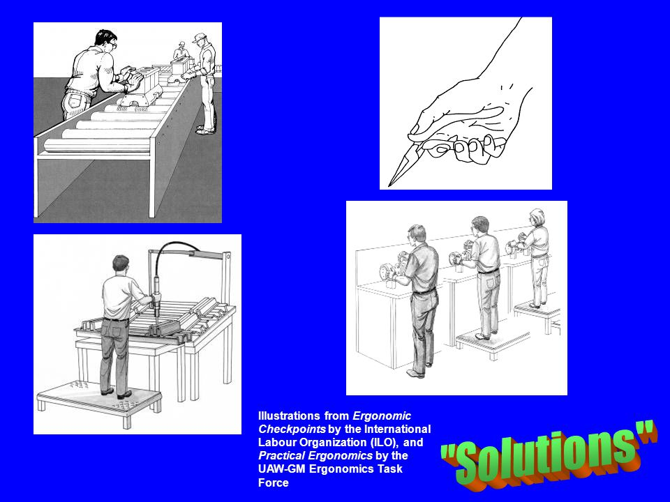 Illustrations from Ergonomic Checkpoints by the International Labour Organization (ILO), and Practical Ergonomics by the UAW-GM Ergonomics Task Force