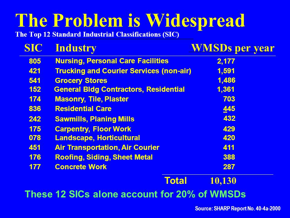 The Problem is Widespread The Top 12 Standard Industrial Classifications (SIC)